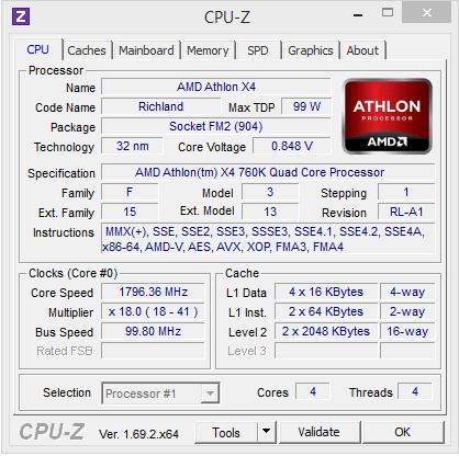 amd athlon 760k cpuz