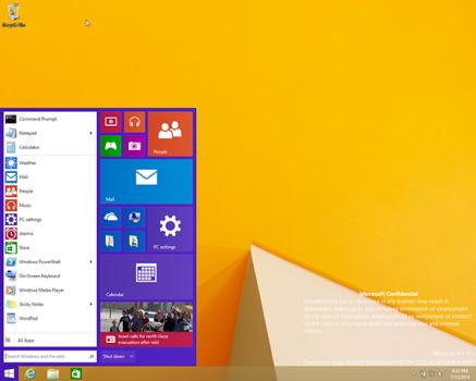 Windows 9 menu Démarrer