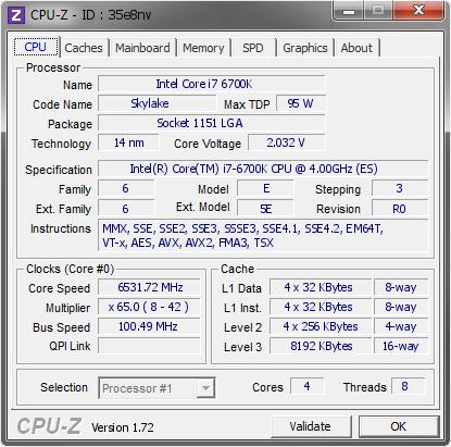 intel corei7 6700k overclocké 6500mhz