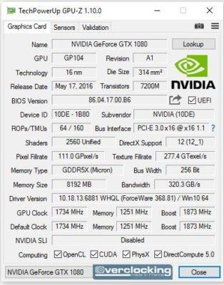 KFA2 GTX 1080 HOF GPUZ