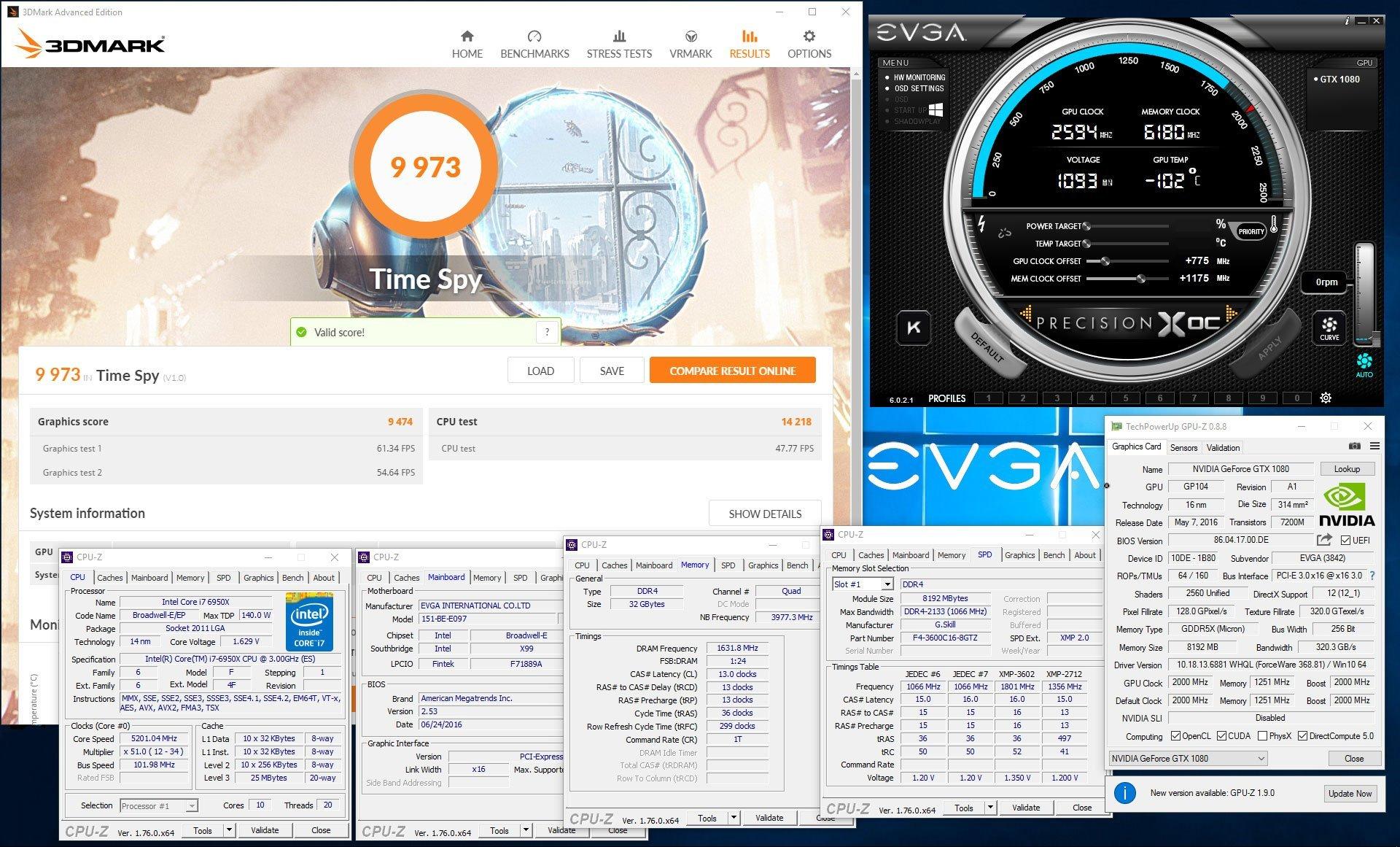 KingPin 3DMark Time Spy 9973