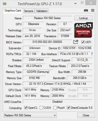 AMD RX 580 GPU-Z