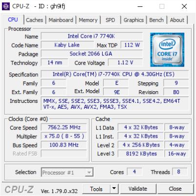 i7 7740K 7.562 GHz