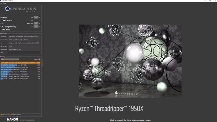 Threadripper 1950X Cinebench