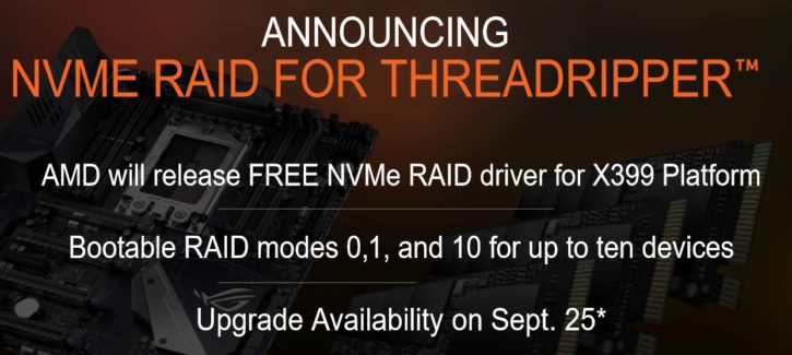 AMD Threadripper support RAID NVMe