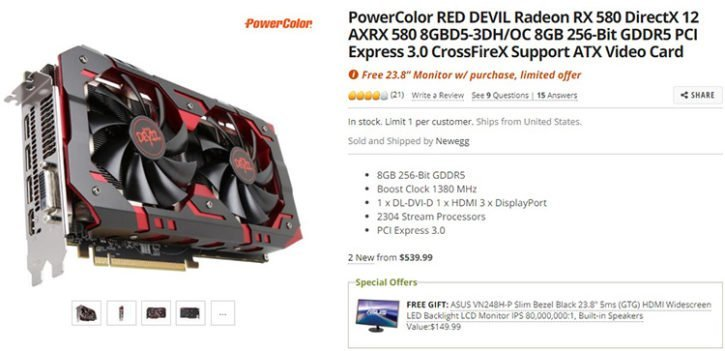 PowerColor RX 580 Red Devil Newegg