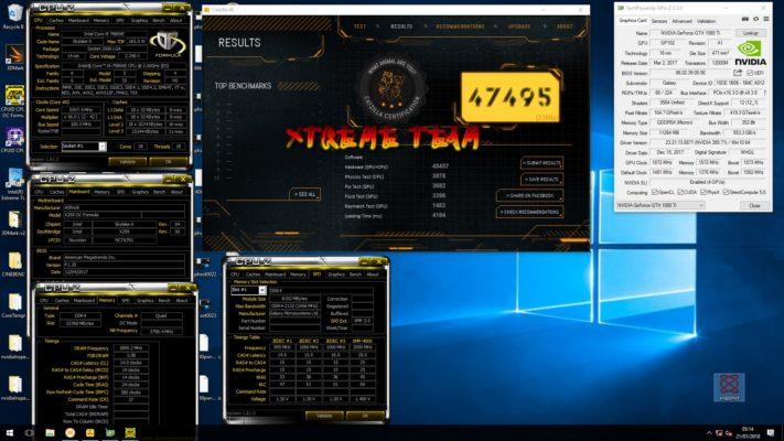 Xtreme Addict 4-Way SLI GTX 1080 Ti Catzilla 4K 43693 marks (2)