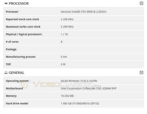 Intel Coffee Lake 8 cores