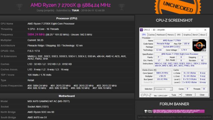 AMD Ryzen 7 2700X à 5884 MHz