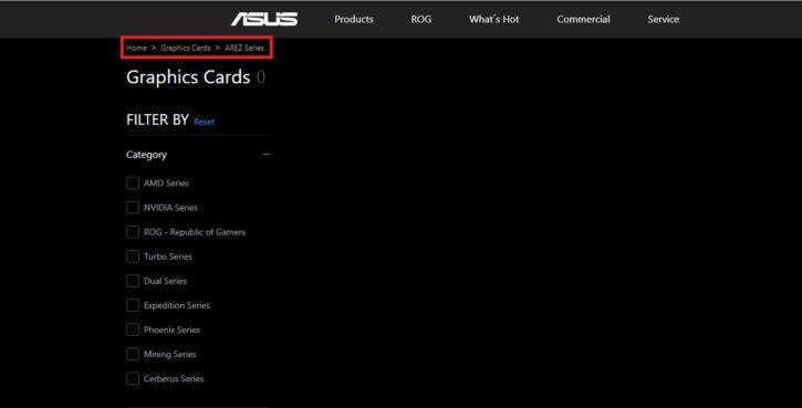 ASUS Arez website