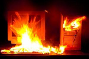 PC en feu