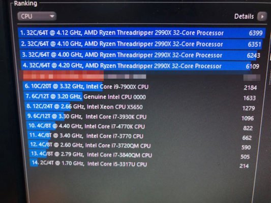AMD Threadripper 2990X Cinebench R15