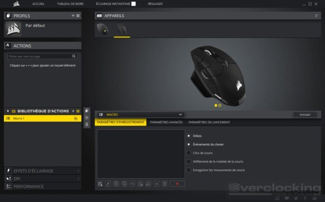 Corsair iCUE Dark Core RGB SE Actions