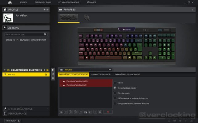 Corsair iCUE K70 RGB MK2 Actions