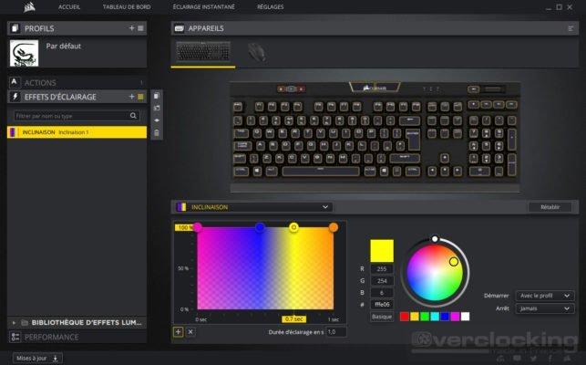 Corsair iCUE K70 RGB MK2 Effets d'éclairage
