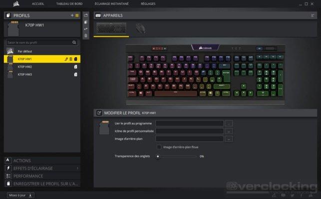 Corsair iCUE K70 RGB MK2 profils 1