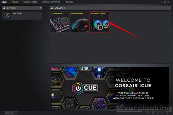 Corsair H100i RGB Platinum - iCUE accueil