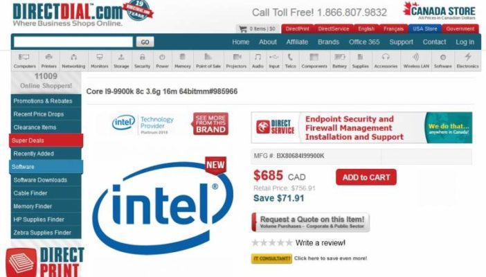 Intel Core i9 9900K DirectDial