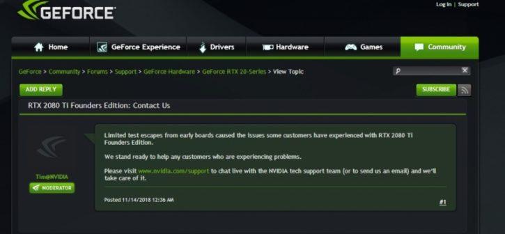 nVidia RTX 2080 Ti problèmes