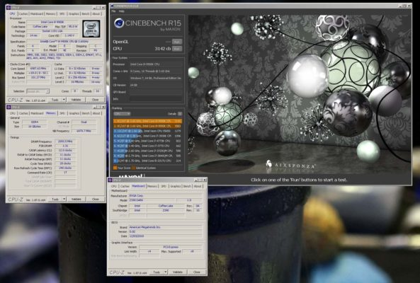 EVGA Z390 Dark + i9 9900K Cinebench R15 3142 cb