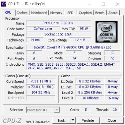 Superm i9 9900K à 7.511 GHz