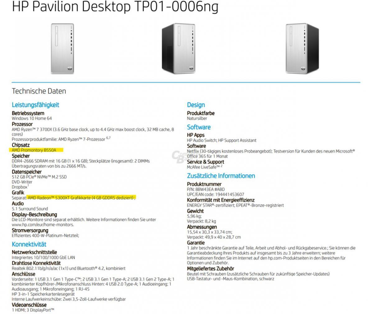 HP RX 5700 XT carte mère B550A
