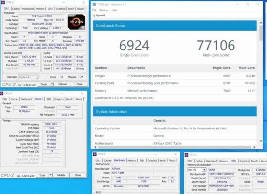Splave Ryzen 9 3900 5.45 GHz Geekbench 3
