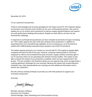Intel lettre excuse pénurie