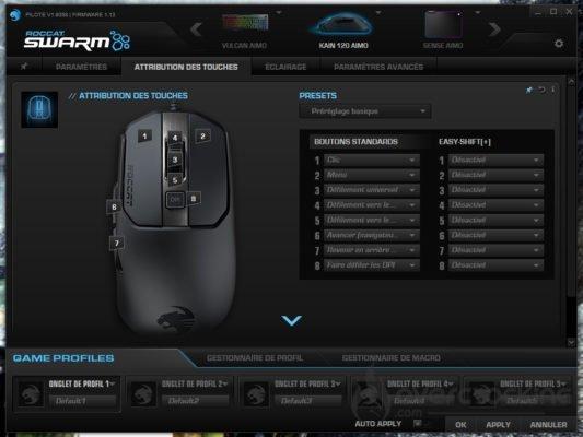 Roccat Swarm Kain 120 AIMO Attribution des touches