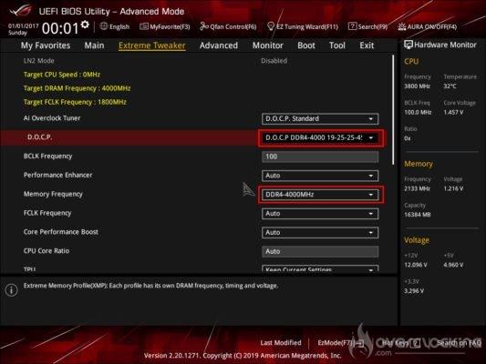 Réglages bios du kit KFA2 HOF OC Lab Aurora 4000 MHz