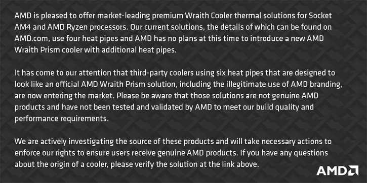 AMD Wraith Prism démenti
