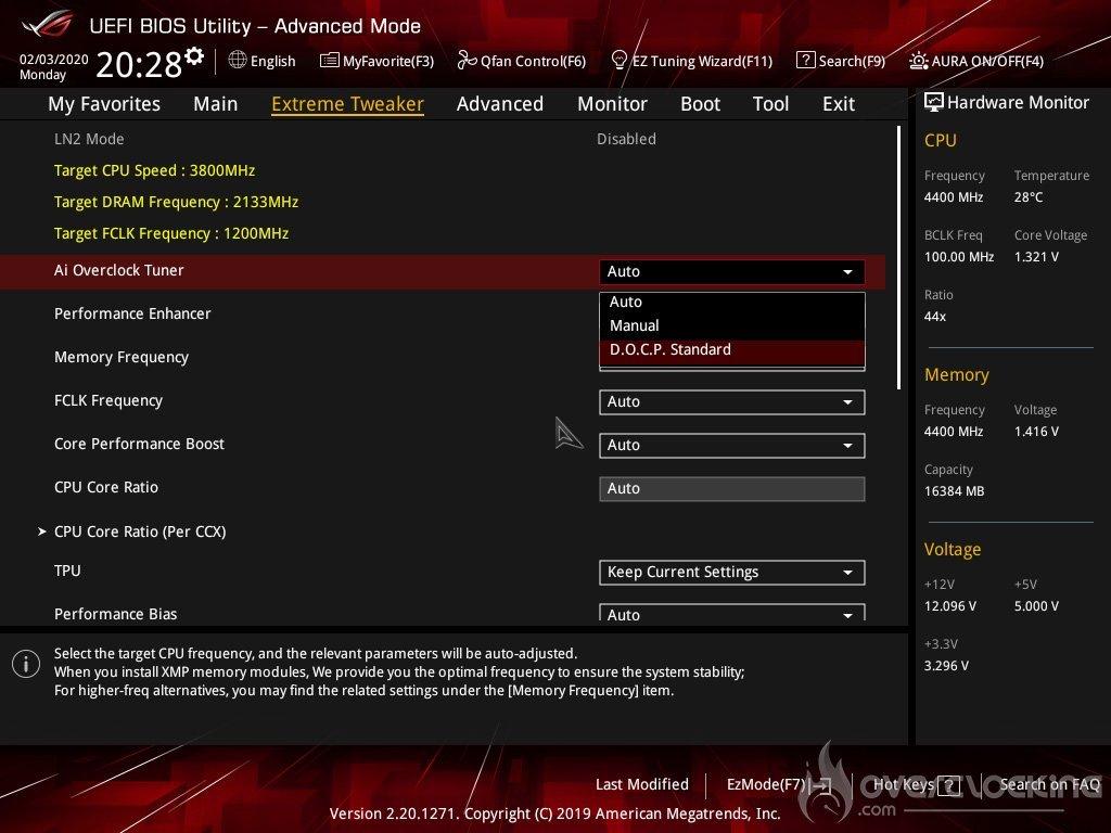 Paramètre bios Crosshair VIII Impact DDR4