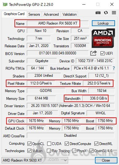 GPU-Z après le flash de la Gigabyte RX 5600 XT Gaming OC