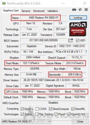 GPU-Z avant le flash de la Gigabyte RX 5600 XT Gaming OC