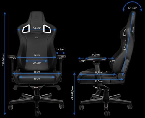 noblechairs Epic Black Edition dimensions
