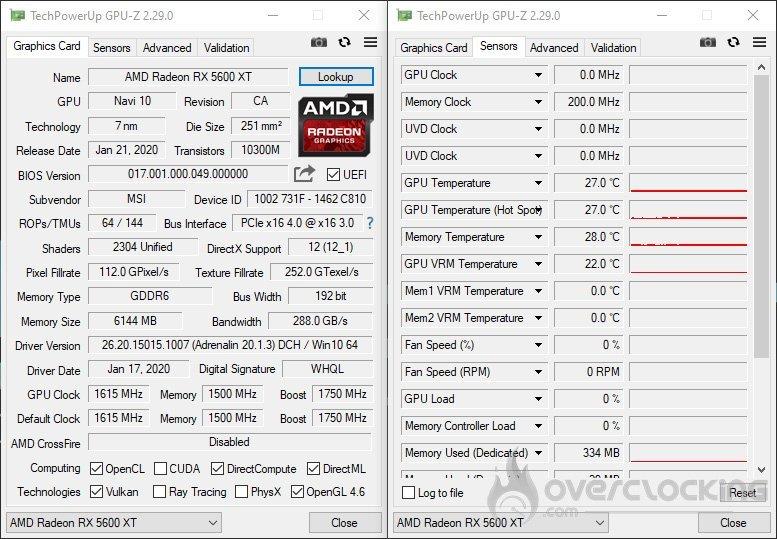 GPU-Z avec la MSI RX 5600 XT Gaming X