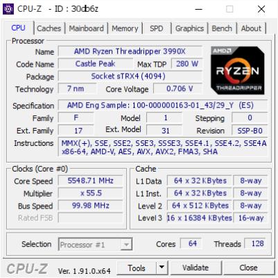Fréquence max avec le threadripper 3990X