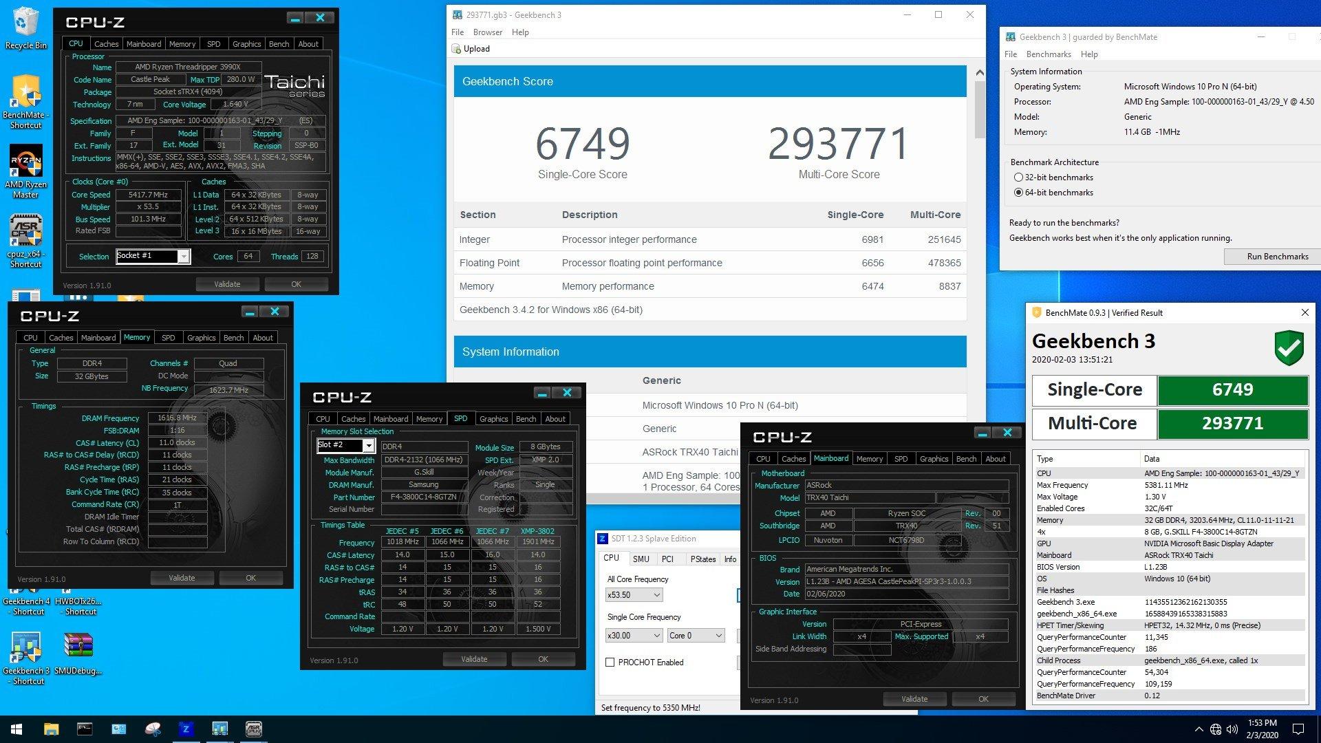 World record Geekbench 3 multi score avec le Threadripper 3990X