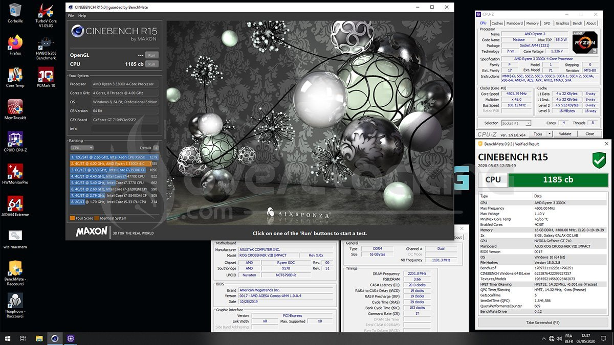 Ryzen 3300X en overclocking sur Cinebench R15