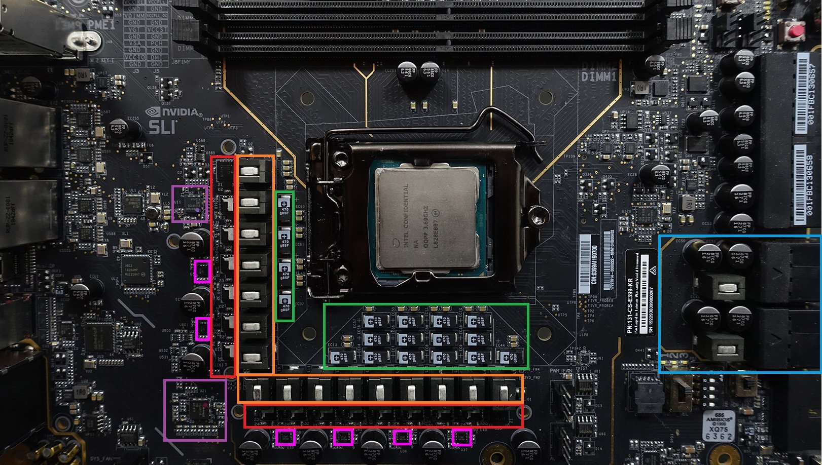 Les VRM de la carte mère EVGA Z390 Dark