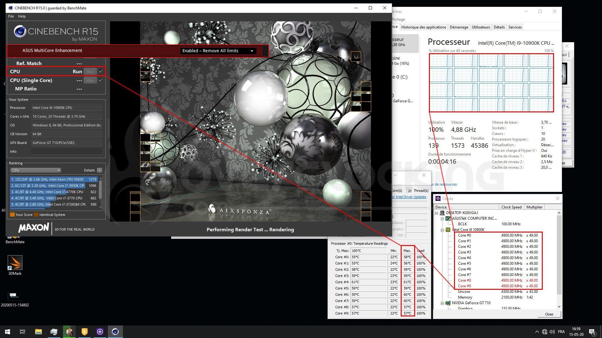 Performance 10900K en multi core avec le MCE enabled