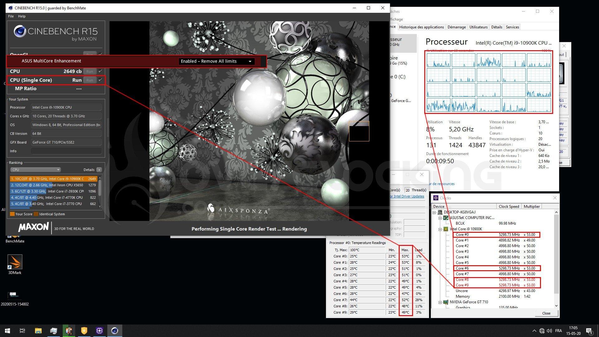 Performance 10900K en single core avec le MCE enabled