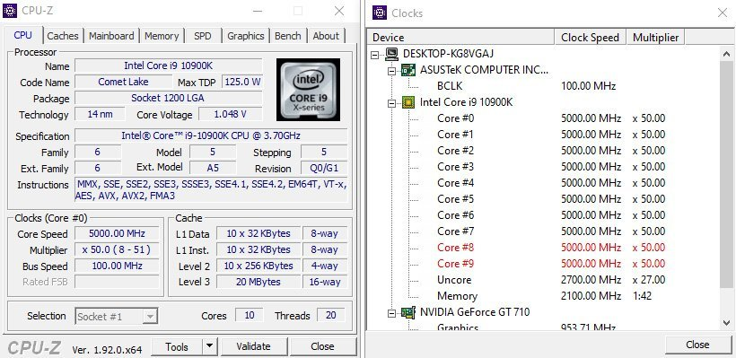 CPUZ 10900K