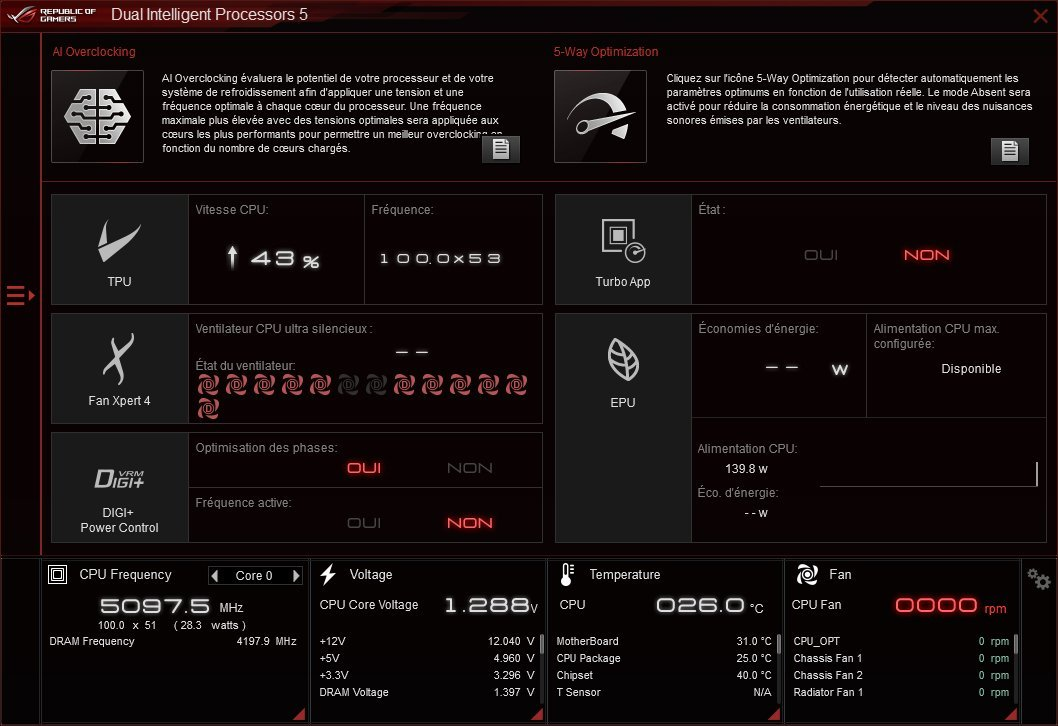 Asus AI Prediction dans le logiciel AI Suite III