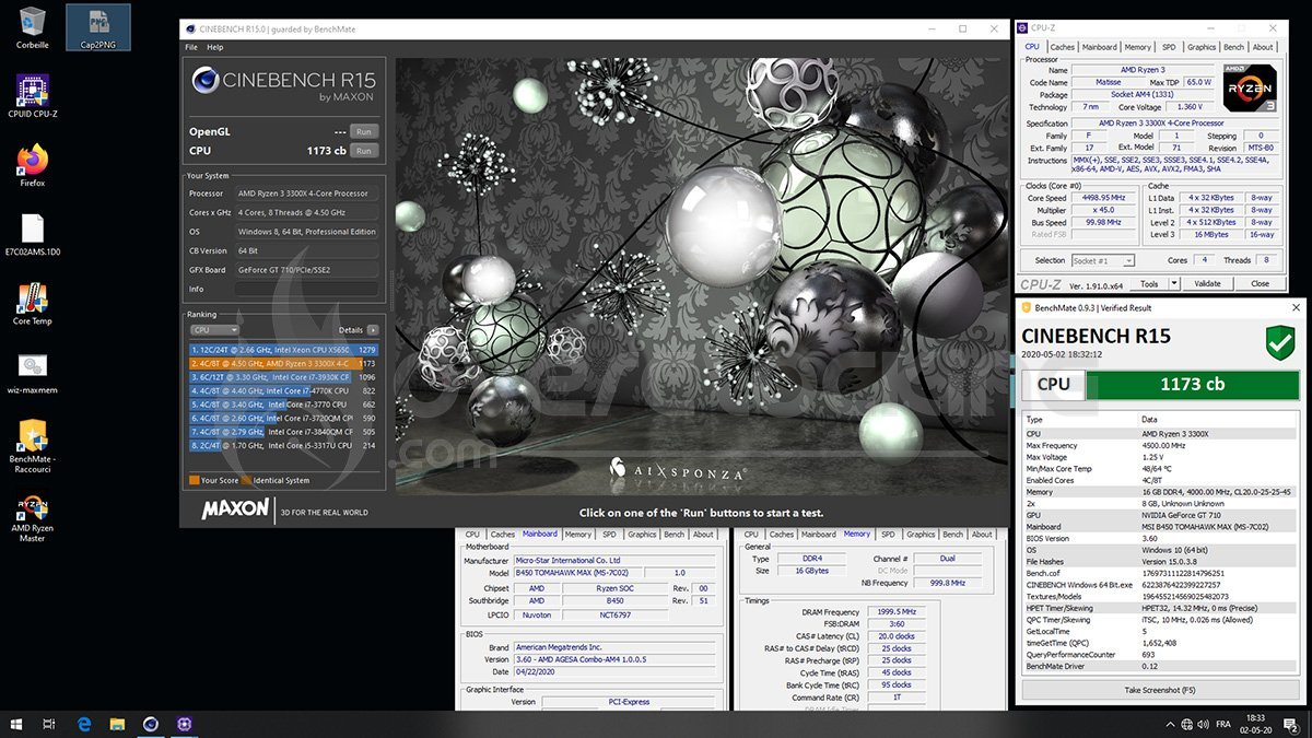 Ryzen 3300X en overclocking sur Cinebench R15 B450