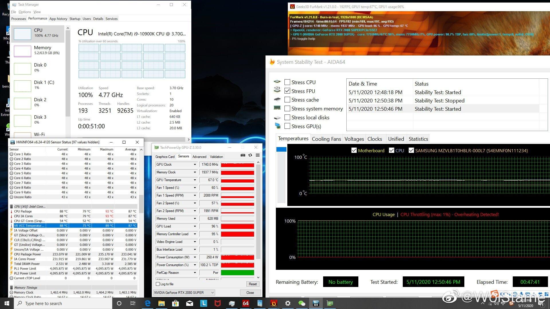 Core i9 10900K consommation et température