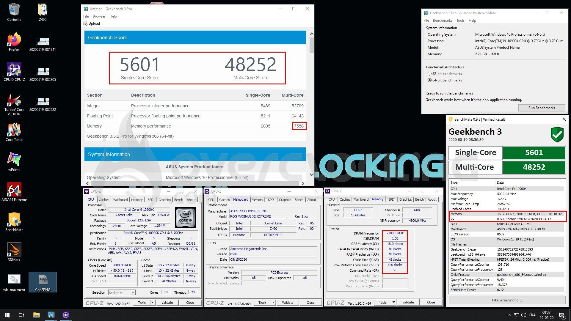 Overclocking mémoire 4800 c18
