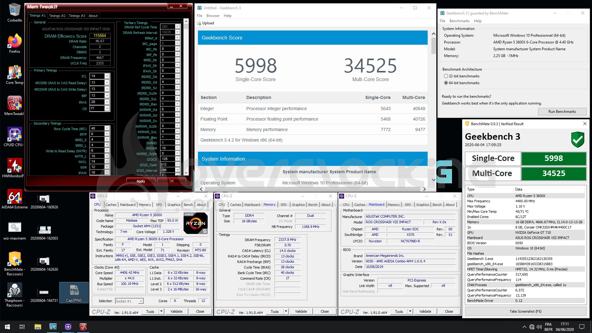 Corsair 4666 MHz C14 Geekbench3