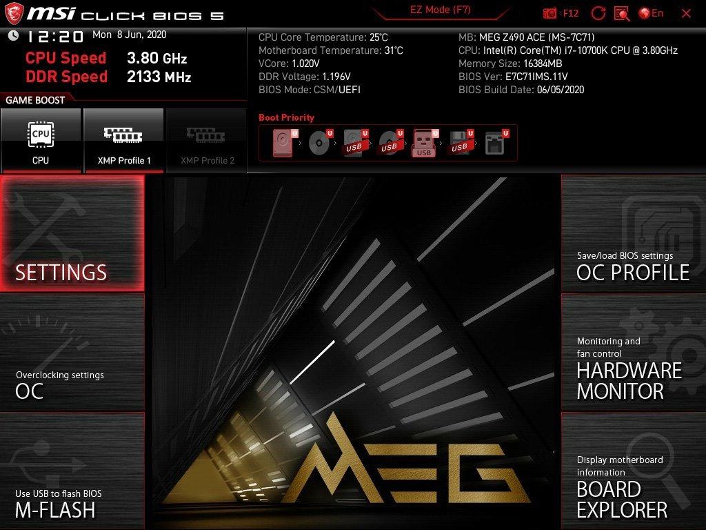 Les réglages du bios MSI MEG Z490 ACE