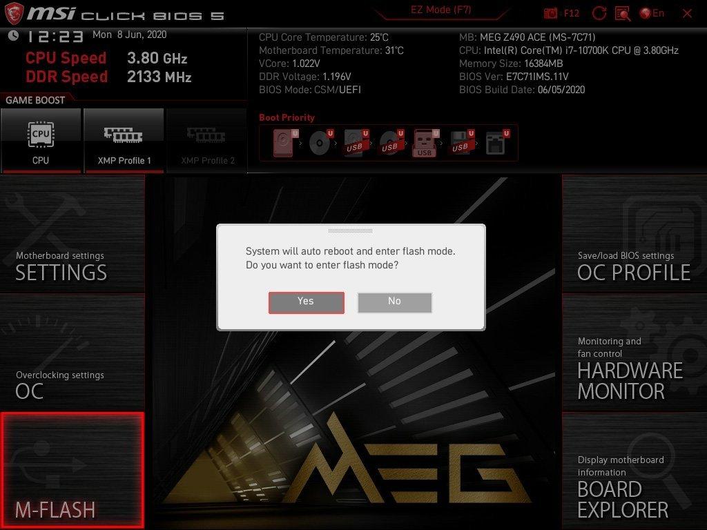 Le flash du bios MSI MEG Z490 ACE